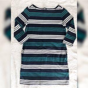 UNIQLO Green & Navy Blue Striped 3/4 Sleeve Dress